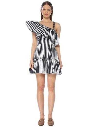 NetWork Kadın 1073453 Regular Fit Çizgili Midi Elbise Lacivert